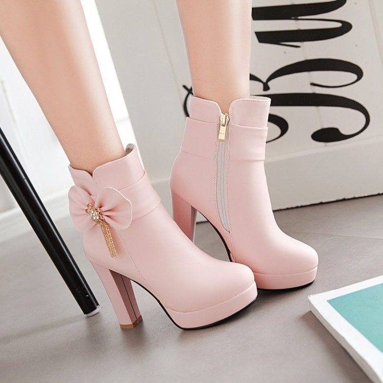 10_2016 Autumn Korean Womens Pink Dress Booties Shoes Princess Bow High Heels Black And White Platform Ankle Boots For Winter
