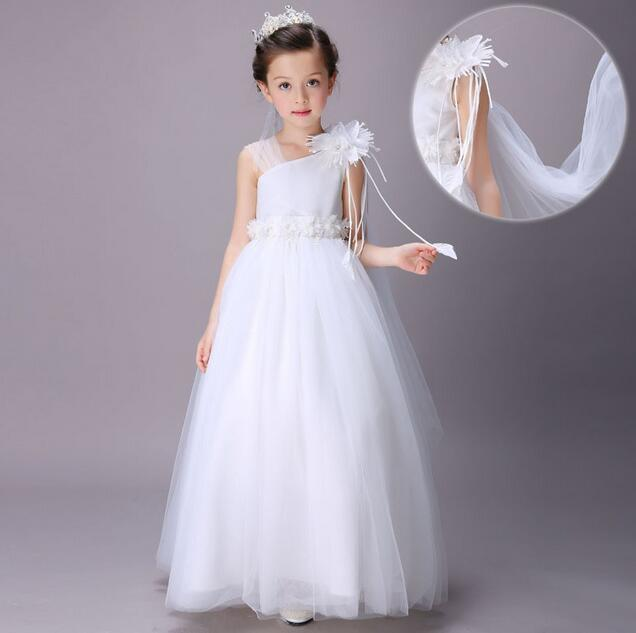 2017 Flower Girls Wedding Dress For Girls Princess Birthday Party Dress Kids Long Formal Girls Dress Summer Children Clothes brwcf flower girls dress for party wedding birthday 2017 summer princess dresses leopard printing children clothes 2 8years