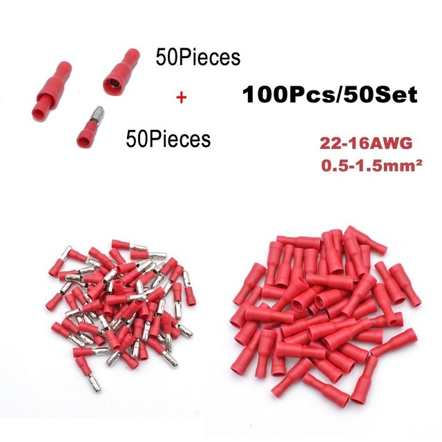 100Pieces 50Set Bullet Flag Wire electrical Connector Male Female Crimp Insulation Nylon Cable Terminals FRD MPD Car Terminator