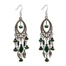 ER382 Tibetan Silver Bohemian Green Beads Retro Vintage Earrings For Teens Girls 2015 New Jewelry Bijouterie