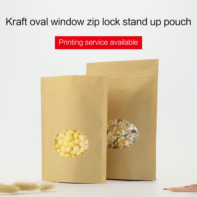 stojanové sáčky se zipem hnědý kraft papír zip zámek s oválným oknem káva čaj svačina potravin balení tašky