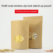 stand up pouches with zipper brown kraft paper zip lock bag with oval window coffee tea snack food packaging bags(China)