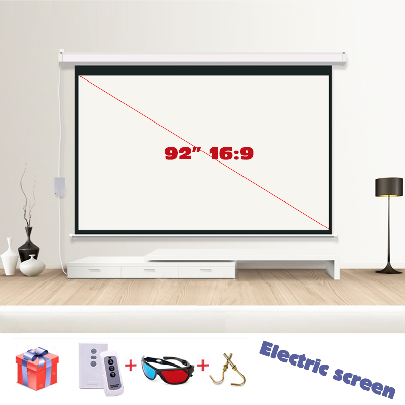 HD 92 16:9 Electric Projection Screen Pantalla Proyeccion matt white for LED LCD HD Movie Motorized Projector Screens 4 3 electric projector screen pantalla proyeccion for led lcd hd movie motorized projection screen 72 84 100 inches available