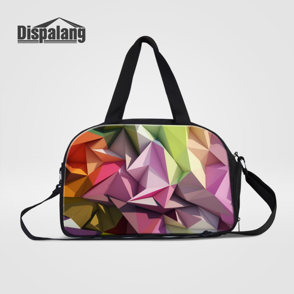 Dispalang Large Capacity Travel Bags With Shoes Pocket Geometry Casual Men Hand Luggage Travel Duffle Bag Big Tote Crossbody Bag