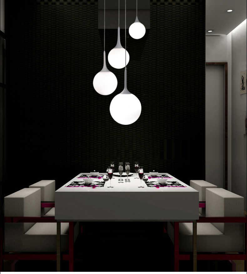 Современный молочный стеклянный медальон абажур, подвесная люстра для столовой Бар Ресторан Декоративные Kugellampe подвесные светильники принадлежности