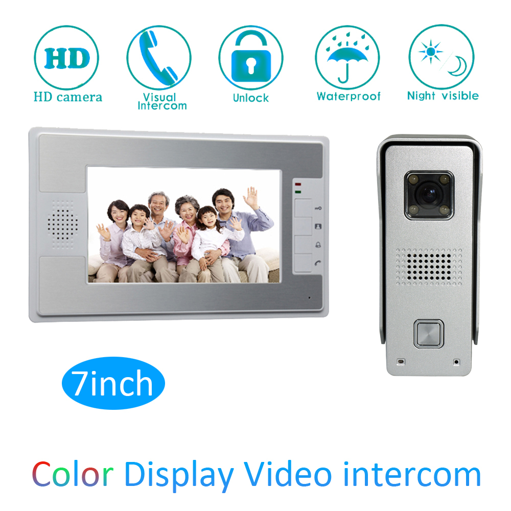 Smart Home Intelligent 1 To 1 Intercom Kit 7 Inch LCD Monitor Wire Video Door Phone Doorbell System Security Camera For Vistor