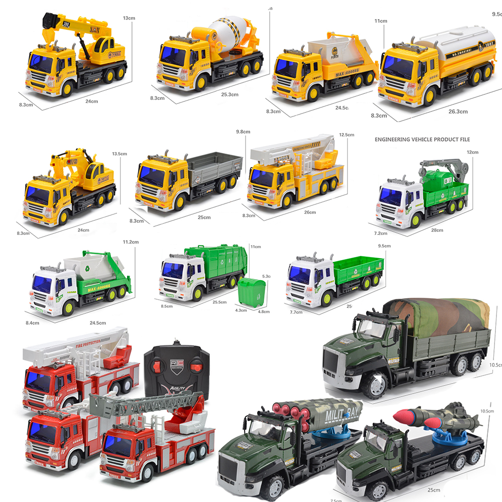 1:16 RC Cars Children Toys Radio Remote Control Car Model Kid Fire Truck/Excavator/Construction Mixer/Military Truck Vehicle