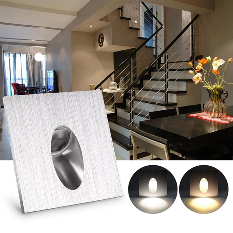 Kingoffer AC85-265V Aluminum Modern Brief LED Stair Light 3W Wall Mounted Spotlight Background Recessed Stair Step Aisle Lamp spot light background snowman printed removable stair stickers