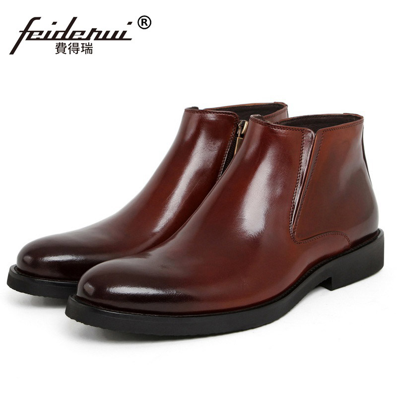 New High-Top Man Basic Luxury Brand Platform Shoes Genuine Leather Round Toe Men's Martin Motorcycle Ankle Boots IH26 2018 fashion new men ankle martin boots basic high quality real genuine leather spring autumn luxury brand man black shoes 38 44