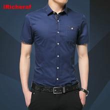 iRicheraf Plus Size 5XL Non-iron Short Sleeve Shirt Turn-down Collar Smart Casual Men Shirts Mens Dress White Black Blue