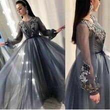 Новое поступление, Тюлевое платье, вечернее, длинный рукав, abendkleider,, вечерние, мусульманское, вечернее платье, плюс размер