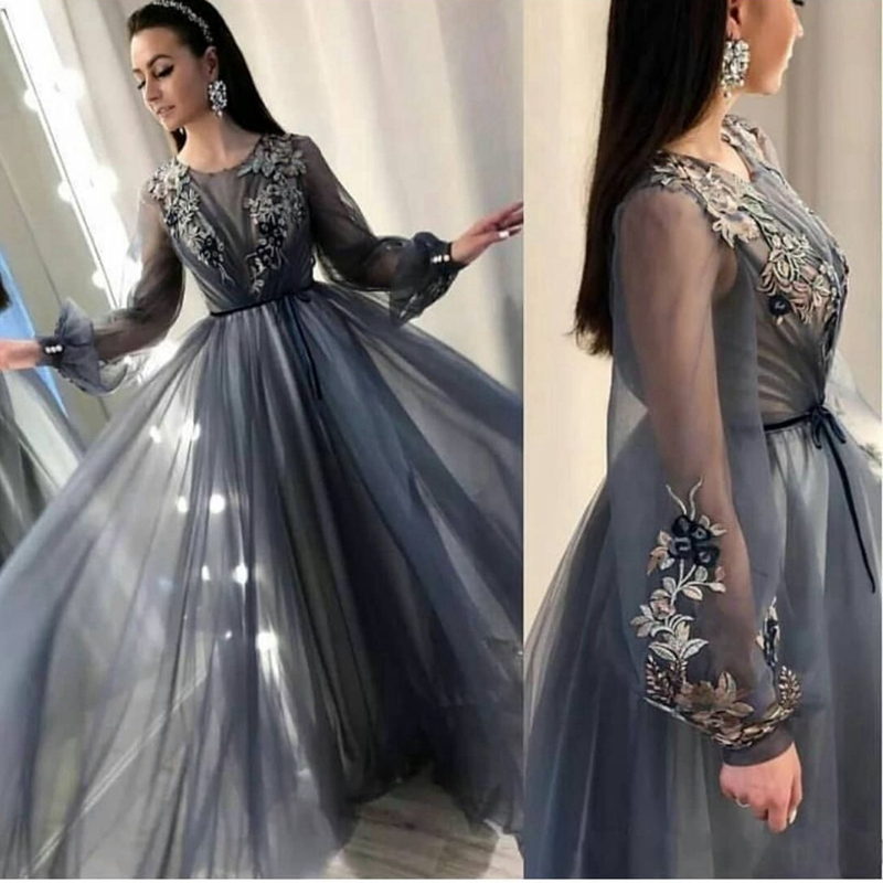New Arrival Tulle   dress     evening   Long sleeve abendkleider 2019 Formal   dress   Party muslim   evening     dress   Plus size