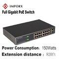 IMPORX 18 Ports 16 POE Injektor POE Power Over Ethernet Switch POE Ethernet Switch Netzwerk Kamera Power Adapter IEEE 802.3at /af