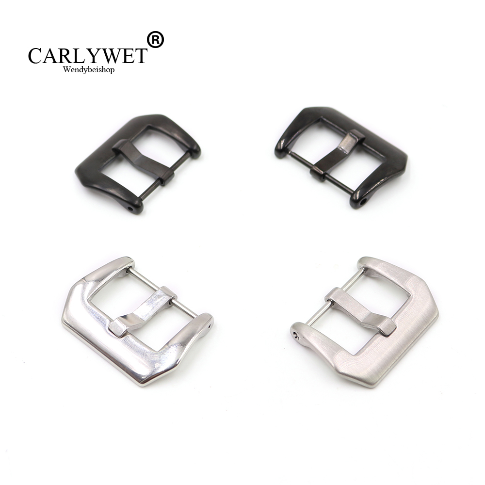 CARLYWET 18 20 22 24 26mm Silver Black Screw Watch Clasp Buckle Stainless Steel for Panerai Luminor Bell Ross Rado Montblanc(China)
