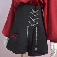 Escuridão Menina Shorts Saias feminino Gothic Lolita Do Punk Retro Do Vintage das Mulheres Subiu Bordado Cadeia Bandagem Criss Cross-Bottoms