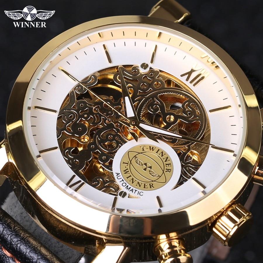 Winner Luxury Golden Case Fashion Clouds Hollow Skeleton Genuine Leather Strap Clock Mens Watch Top Brand Luxury Automatic Watch