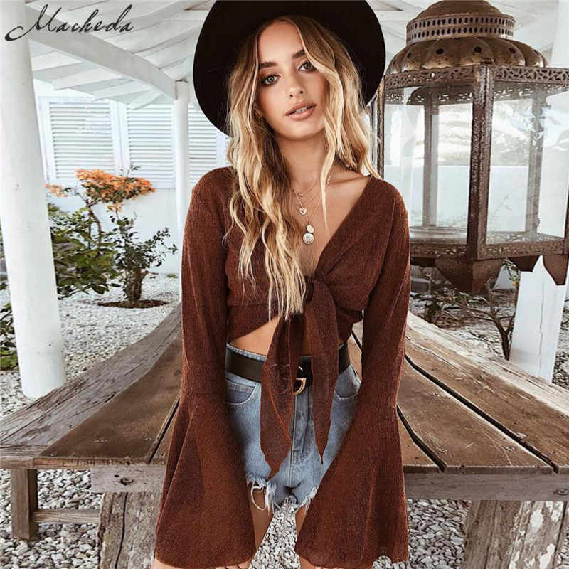 Macheda Women Fashion Sexy Deep V Neck Bandage Tops Flare Long Sleeve Lady Crop Tops T-Shirt Summer Casual Women Clothing