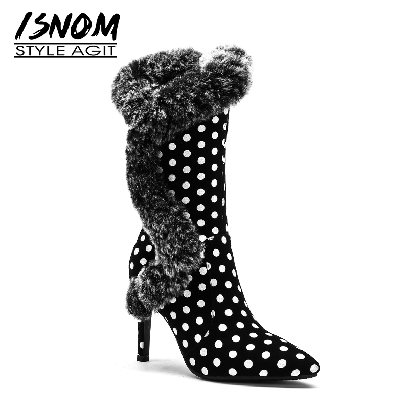 ISNOM Winter High Heels Women Mid Calf Boots Print Pointed Toe Zip Footwear Polka Dot Party Female Boot Fur Shoes Woman New 2018 high waist polka dot print trumpet pants