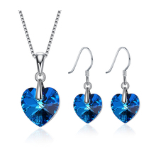 Bulage Original Crystals From Swarovski Romantic Heart Pendant Necklaces Drop Earrings Chic Jewelry Sets For Women Lovers Gift joyashiny crystals from swarovski classic romantic heart pendant necklaces drop earrings jewelry sets for women lovers gift