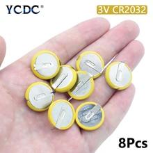8 قطعة 3 فولت 210 مللي أمبير CR2032 بطارية ليثيوم المنغنيز مع 2 علامات التبويب لحام ل اللوحة الأم حاسبة CR2032 زر عملة خلية البطارية
