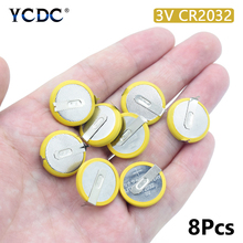 8Pcs 3V 210mAh CR2032 Battery Lithium Manganese With 2 Solder Tabs For Motherboard Calculator CR2032 Button Coin Cell Battery