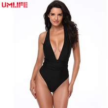 3489570c87 Women Swimsuit 2019 Hot Black White Red Sexy One Piece Swimwear Backless  Bathing Suit Solid Deep