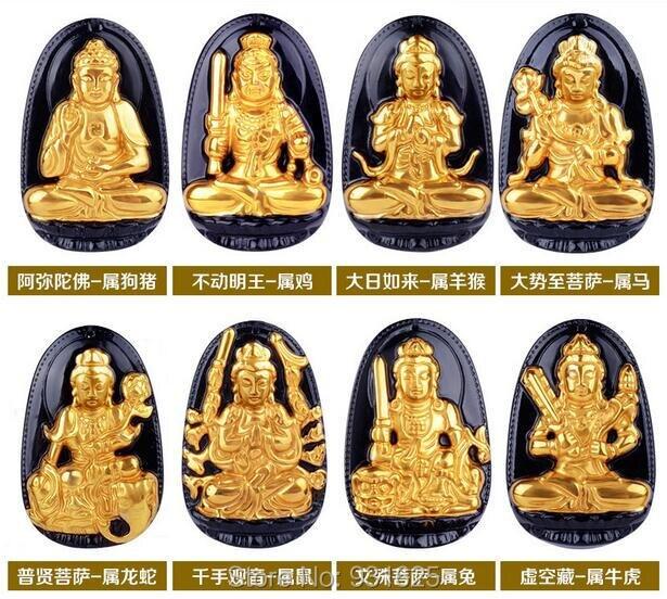 Natural Black Obsidian Carved 18 Gold Chinese Zodiac Buddha Kwan-Yin Lucky Amulet Pendant + free Necklace fashion Jewelry ds 11 china bronze gilded guanyin bodhisattva comfortable kwan yin buddha statue