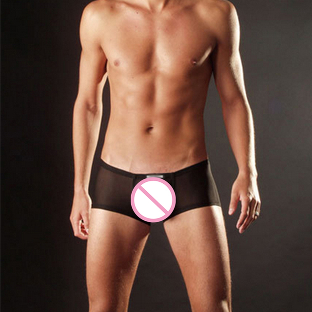 Hot Sexy Mens See Through Mesh Boxers Man Gay Sex Cosplay Costume Bulge Pouch Underpants Trunks