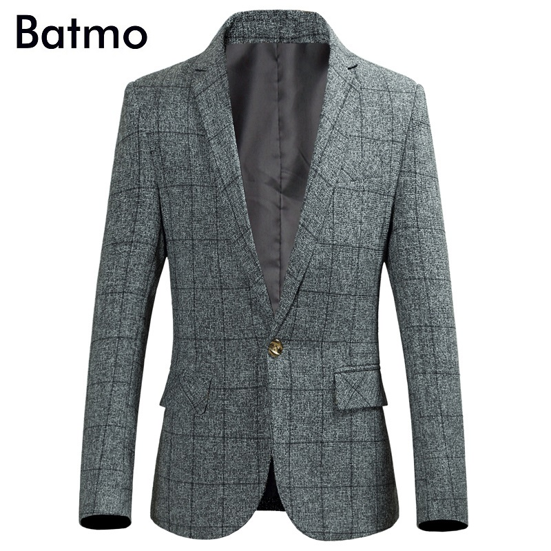 Batmo 2018 new arrival high quality Single Button casual plaid blazers men, gray blazers ,suits jackets men plus-size M-6XL 9803