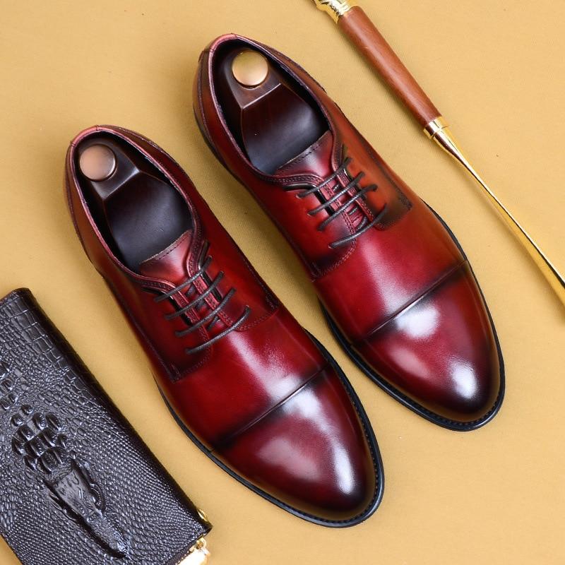QYFCIOUFU 2019 Nouvelle Haute Qualité Chaussures Habillées Pour Hommes En Cuir Véritable Chaussures Habillées En Cuir Hommes Adulte Oxfords Chaussures