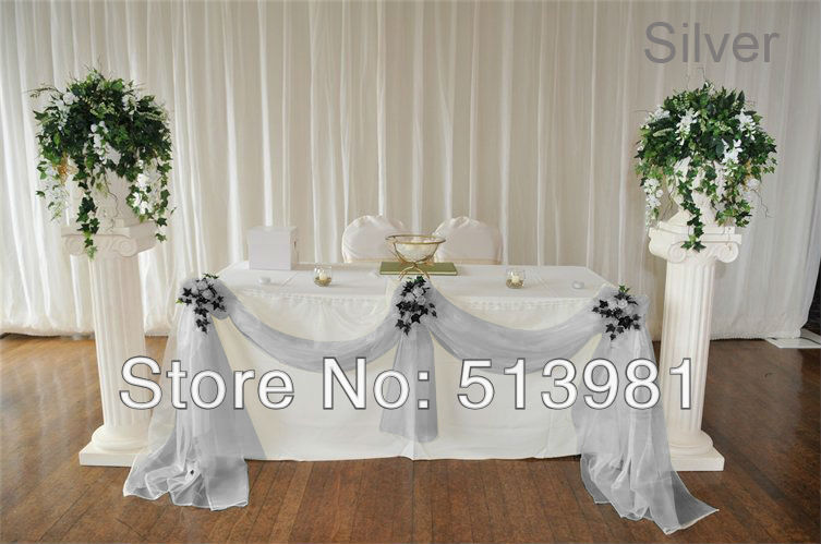 wholesale price wedding decoration 5meter width sliver colour sheer mirror organza fabric for wedding decoration
