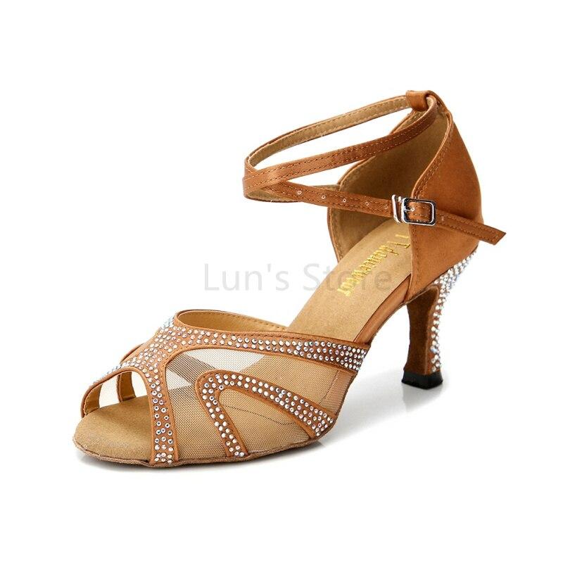 New Rhinestone Nude Black Blue Tan Silver Weddidng Salsa Tango Ballroom Dance Shoes Latin Dance Shoes Salsa Dancing Shoes DS332