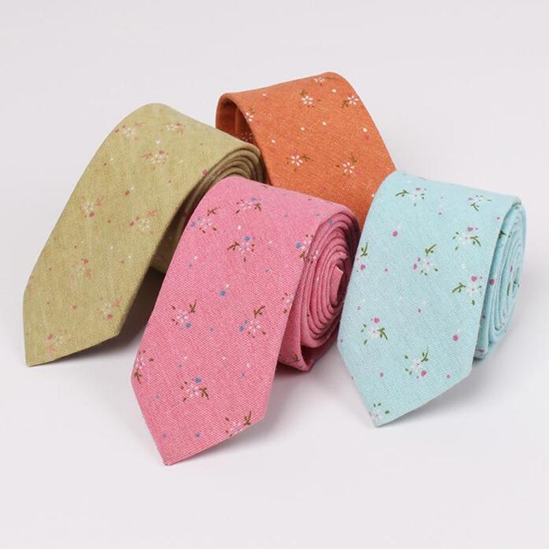 Dizajni i ri 100% pambuku Lidhje Për Burra Vintage Shtypur Lule Gravatas Slim Corbatas Kostum Vestidos Necktie Partia Lidhje të dobët