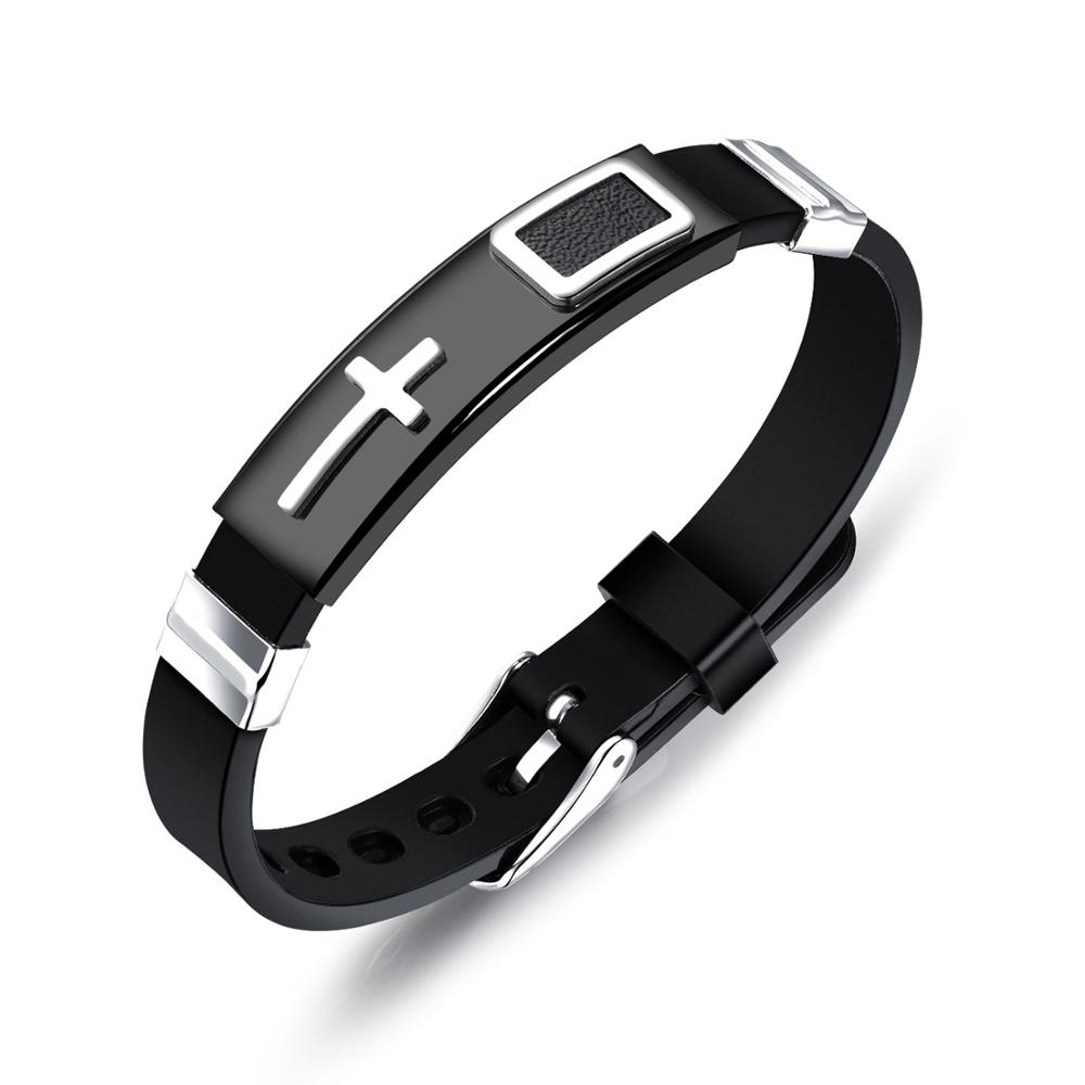 Misheng Men 39 s Fashion Black Silicone Brand Bracelet Stainless Steel Cross Accessories 2019 Trend Male Jewelry Width 10mm in Charm Bracelets from Jewelry amp Accessories