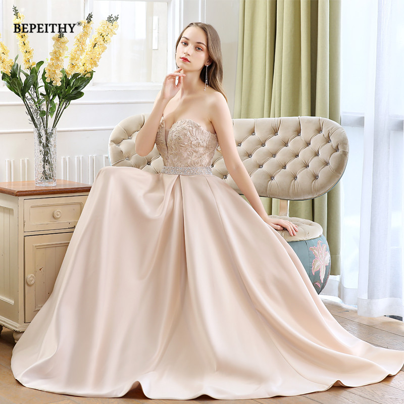 Simple Sweetheart Champagne Long Evening Dress Party Elegant 2019 Robe De Soiree Lace Bodice New Prom