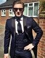New arrival Classic Mens suits Custom Made Navy bule Groomsman Dress Wedding Party Best Man Suits Groom(Jacket+Pants+vest+Tie)