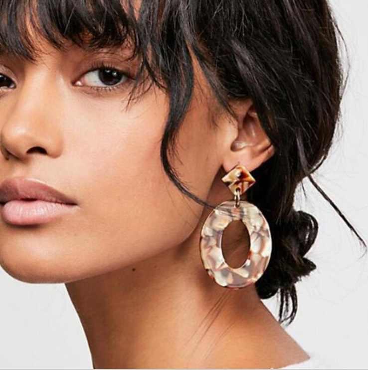 2018 Fashion ZA Jewelry Acrylic Resin Oval  Earrings For Women Geometry Big Circle Tortoiseshell Earrings Acetate Brincos