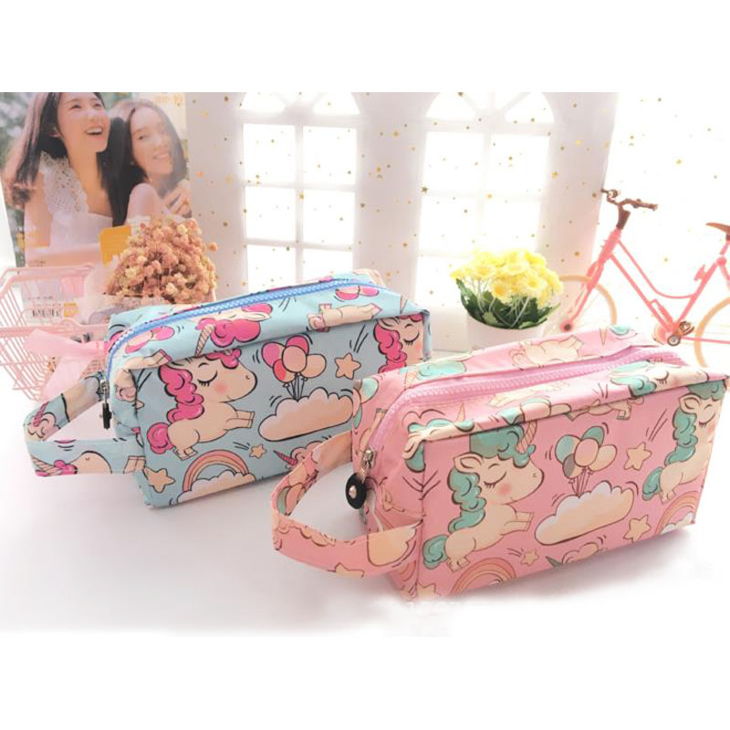 1 Pcs Kawaii High-capacity Stationery Unicorn Makeup Bag Waterproof Travel Makeup Cosmetic Toiletry Document Bag