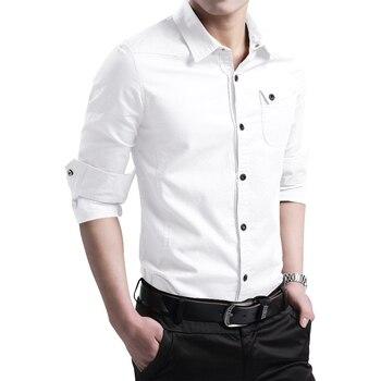 Men Autumn Fashion Brand New Cotton Long Sleeve Shirt Men Spring Slim Fit Plaid Pockets Casual Men Dress Shirts Plus Size M-5XL