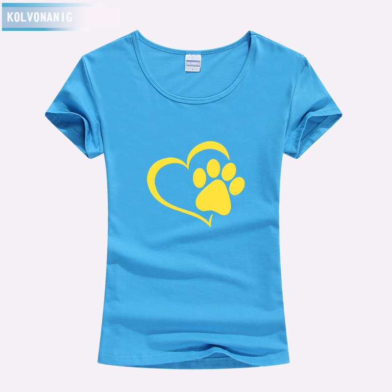 KOLVONANIG 2019 Summer Love Cat Paws Printed Women T Shirt Cotton Casual Anime Top Tees Hipster Gray Black White Kawaii T Shirts in T Shirts from Women 39 s Clothing