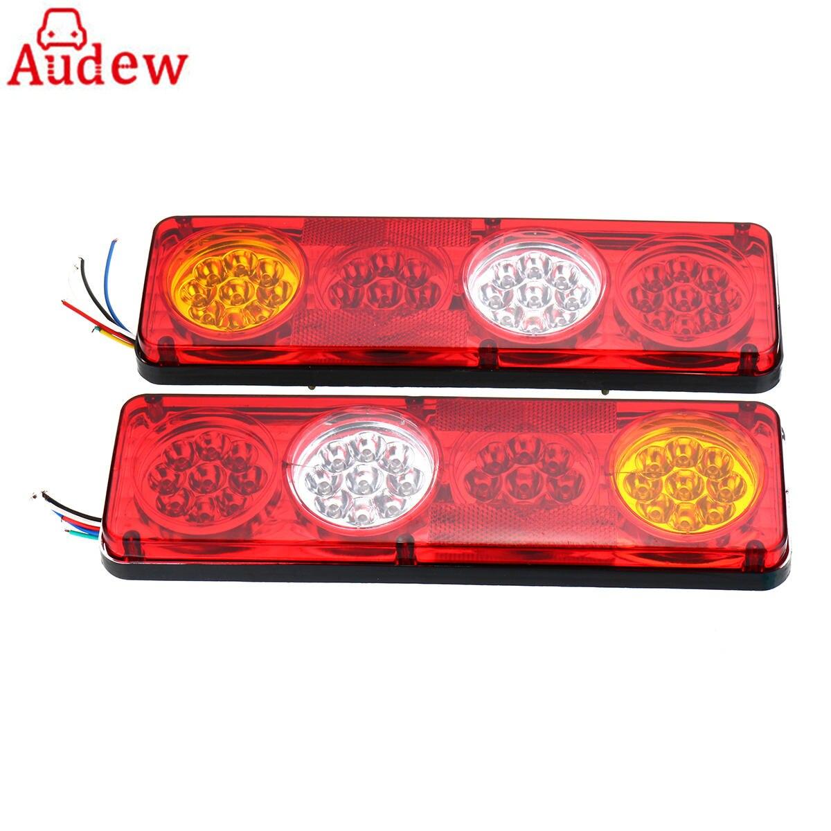 2 pcs LED Étanche Arrière de Voiture Feux Arrière Lampe De Frein Lumière D'arrêt pour Remorque Caravane Camion Camion 36LED 24 V 3 Couleurs