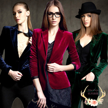 Europe womens short jacket Skinny Gold velvet blazer Blouses coats Slim Fit new c52