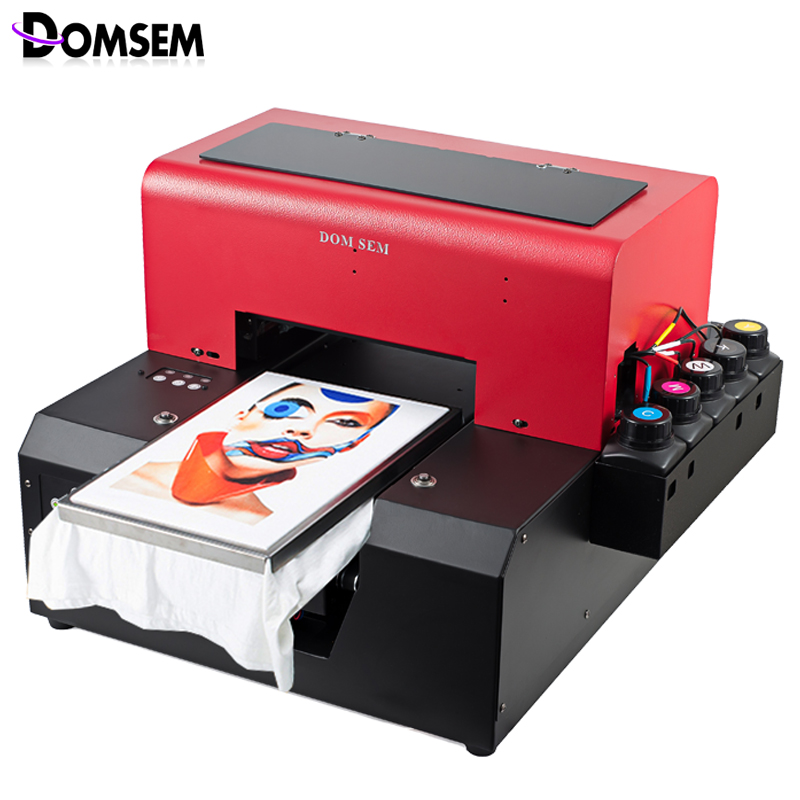 f51d8e80 DOMSEM A4 size Automatic Cloth Garment T shirt UV Printer with t-shirt  tray/ ink / software