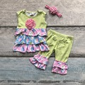 Easter design baby girls kids boutique clothes ruffles cotton egg print ruffles plaid sleeveless with matching accessories bow