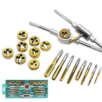 20Pcs/set Titanium Tap and Die Set M3 M12 Screw Thread Metric Plugs Taps & Tap Wrench 40pcs Alloy Steel Metric Tap Die Tools set