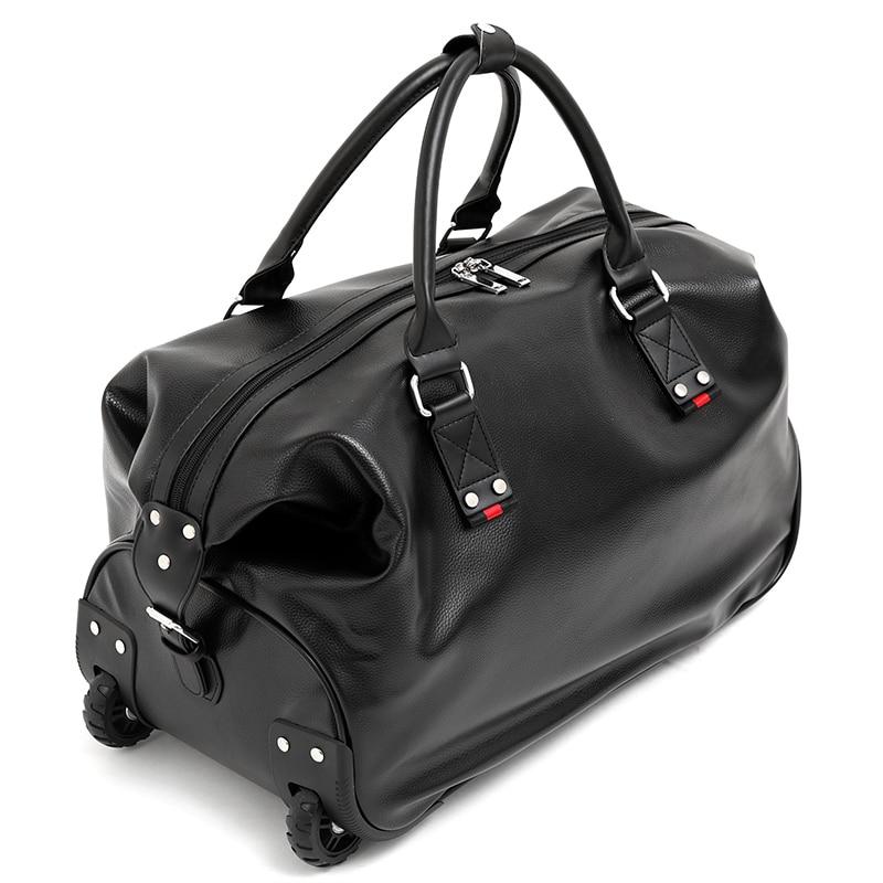 все цены на 2018 Women PU Trolley Travel Bags Wheel Luggage Bag Men Hand Trolley Bag Large Capacity Travel Flight Bags Suitcase with Wheels