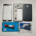 Full housing Cover case For Samsung Galaxy Note 4 N910F chassis Middle Bezel Frame & battery door cover & tools kit & UV glue
