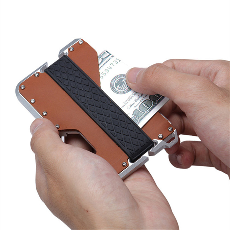 ZOVYVOL NEW 2019 Genuine Leather Credit Card Holder Metal RFID Aluminium Card Box Vintage Blocking Mini Magic Business Wallet in Card ID Holders from Luggage Bags