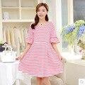 2017 лето одежда для беременных беременные dress свободные V воротник полосатый хлопок с коротким рукавом женщины моды dress