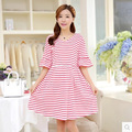 2017 summer maternity clothes pregnant dress loose V collar striped cotton short sleeve women fashion dress